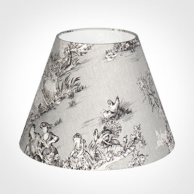 30cm Empire Shade in Grey Pastoral Toile de Jouy -Lamp Base Only