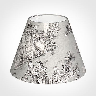 35cm Empire Shade in Grey Pastoral Toile de Jouy -Lamp Base Only
