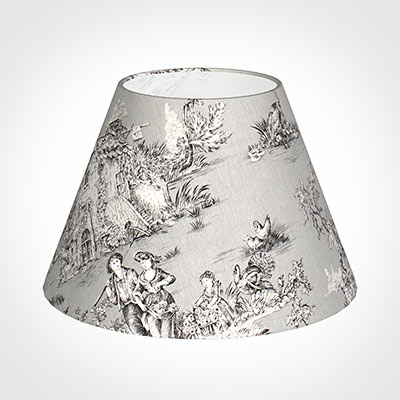 40cm Empire Shade in Grey Pastoral Toile de Jouy -Lamp Base Only