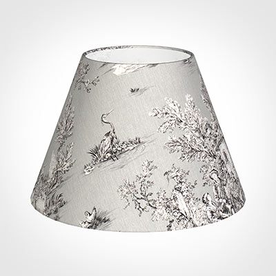 45cm Empire Shade in Grey Pastoral Toile de Jouy -Lamp Base Only