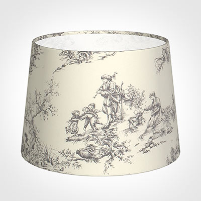 30cm Medium French Drum Shade in Ash Toilede Jouy