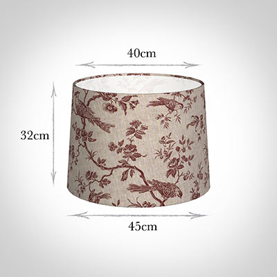 45cm Medium French Drum Shade in Red Isabelle