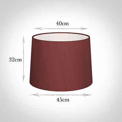 45cm Medium French Drum Shade in Antique Red Silk
