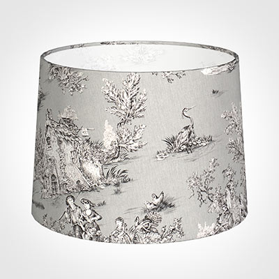 45cm Medium French Drum Shade in Grey Pastoral Toile de Jouy-Lamp Base Only