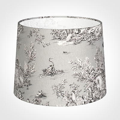 50cm Medium French Drum Shade in Grey Pastoral Toile de Jouy-Lamp Base Only