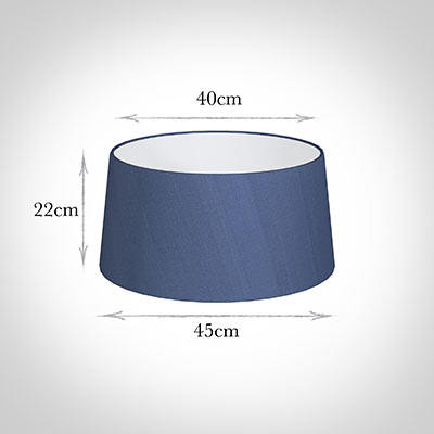 45cm Wide French Drum Shade in Slate Blue Silk