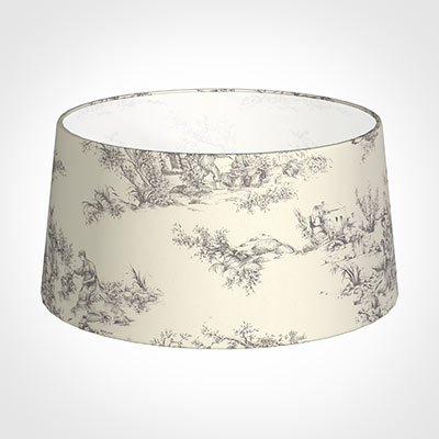 45cm Wide French Drum Shade in Ash Toile de Jouy