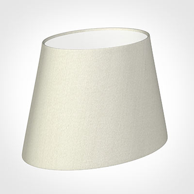 25cm Sloped Oval Shade in Pearl Faux Silk