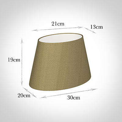 30cm Sloped Oval Shade in Dull Gold Faux Silk
