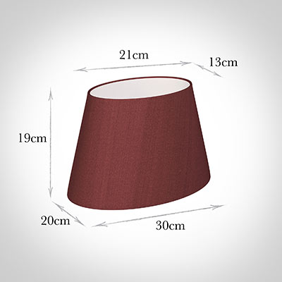 30cm Sloped Oval Shade in Antique Red Silk