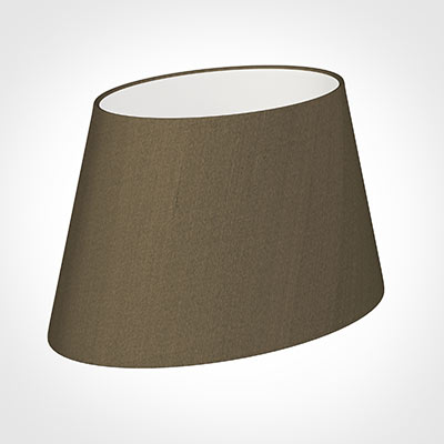 35cm Sloped Oval Shade in Bronze Faux Silk