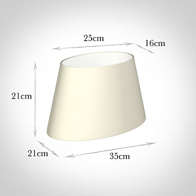 35cm Sloped Oval Shade in Cream Satin