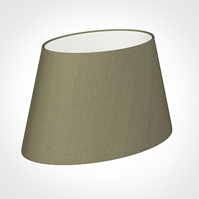 35cm Sloped Oval Shade in Watered Green Silk