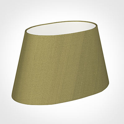40cm Sloped Oval Shade in Antique Gold Silk