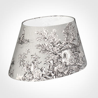 45cm Sloped Oval Shade in Grey Pastoral Toile de Jouy-Lamp Base Only