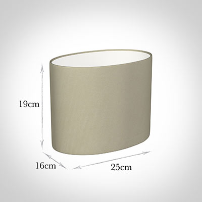 25cm Straight Oval Shade in Pale Smoke Satin