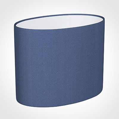 25cm Straight Oval Shade in Slate Blue Silk