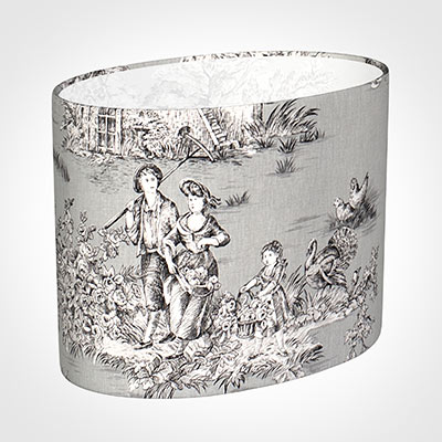 25cm Straight Oval Shade in Grey Pastoral Toile de Jouy