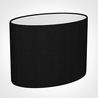 30cm Straight Oval Shade in Black Silk