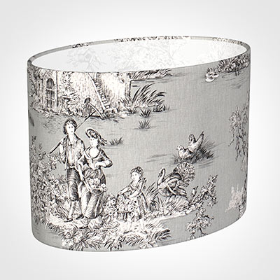 30cm Straight Oval Shade in Grey Pastoral Toile de Jouy