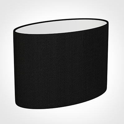 35cm Straight Oval Shade in Black Silk