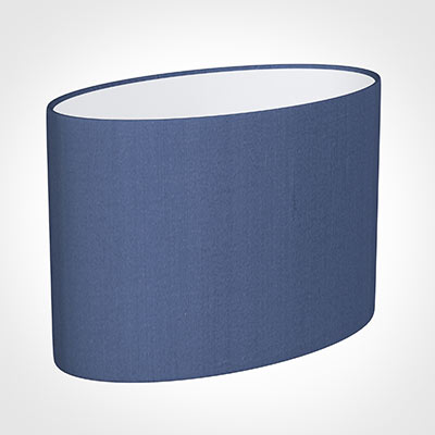 35cm Straight Oval Shade in Slate Blue Silk