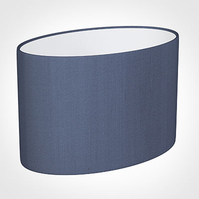 40cm Straight Oval Shade in Blue Faux Silk