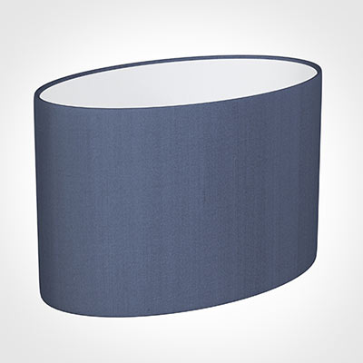 45cm Straight Oval Shade in Blue Faux Silk