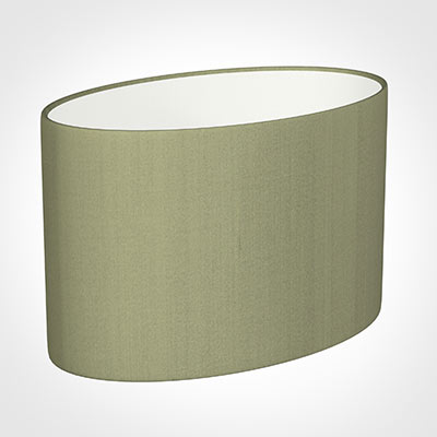 45cm Straight Oval Shade in Pale Green Faux Silk