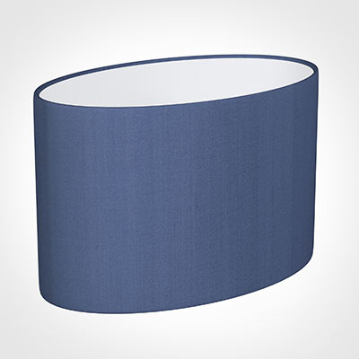 45cm Straight Oval Shade in Slate Blue Silk