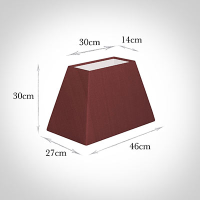 46cm Sloped Rectangle Shade in Antique Red Silk