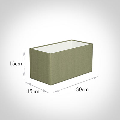 30cm Straight Rectangle Shade in Pale Green Faux Silk