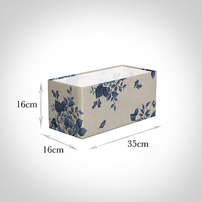 35cm Straight Rectangle Shade in Blue Bloom