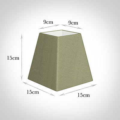 15cm Sloped Square Shade in Pale Green Faux Silk
