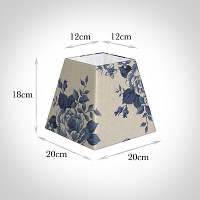 20cm Sloped Square Shade in Blue Bloom