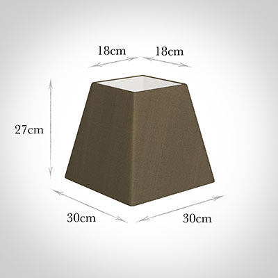 30cm Sloped Square Shade in Bronze Faux Silk