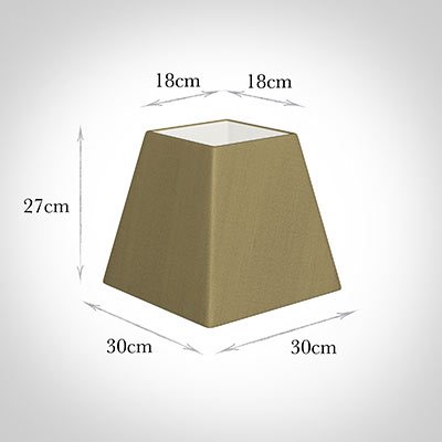30cm Sloped Square Shade in Dull Gold Faux Silk