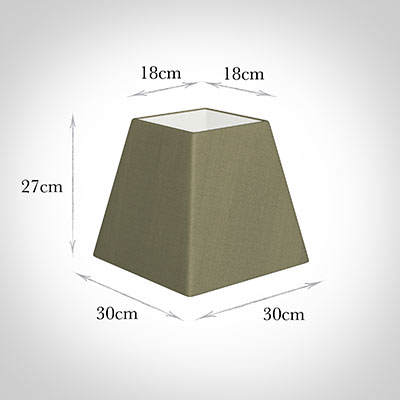 30cm Sloped Square Shade in Watered Green Silk -Lamp Base Only