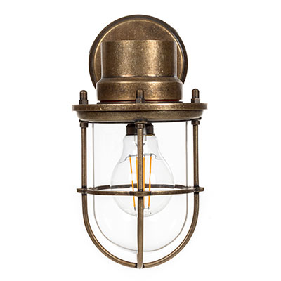 Wall Mounted Ship's Light in Antiqued Brass