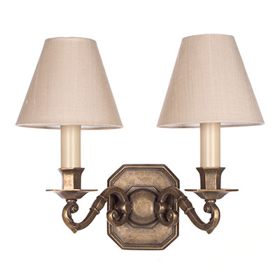 Double Gainsborough Wall Light in Antiqued Brass