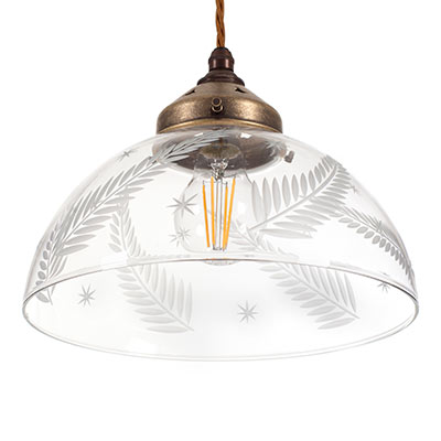 Ashurst Cut Glass Pendant Light in Antiqued Brass