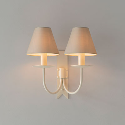 Double Cottage Wall Light in Plain Ivory