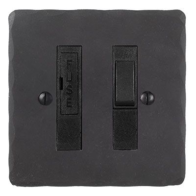 13amp Fused Switch Black Inserts Hammered Plate