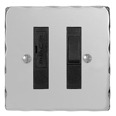13amp Fused Switch Nickel Hammered Plate, (discontinued, only stock shown available)