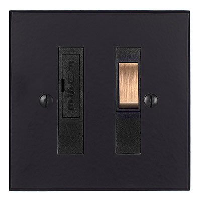 13amp Fused Switch Matt Black Hammered Plate(discontinued, only stock shown available)