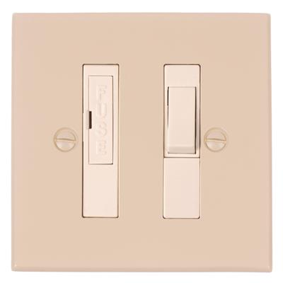 13amp Fused Switch Plain Ivory Bevelled Plate,White Insert