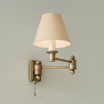 Hanson Wall Light in Antiqued Brass with Pull Cord