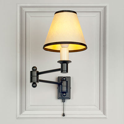 Hanson Wall Light in Matt Black with Pull Cord
