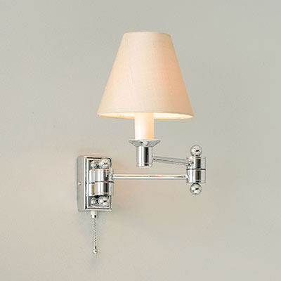 Hanson Wall Light in Nickel with Pull Cord