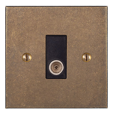 TV Co-axial Outlet Antiqued Brass Bevelled Plate,Black Insert